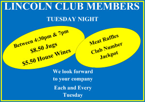 LINCOLN CLUB MEMBERS tuesday